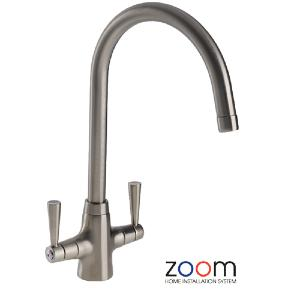 Abode Zoom Bellagio Brushed Nickel Mono Kitchen Sink Tap AZP004