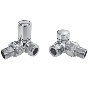 "Deco 15mm x 1/2"" Corner Radiator Valve Pair Chrome"