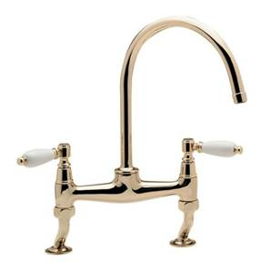 Tre Mercati Series 900 Lever Gold Bridge Pillar Sink Mixer Tap -