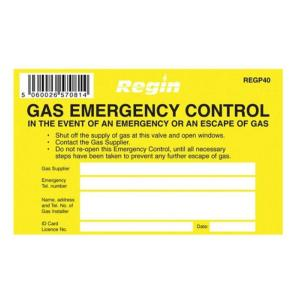 Regin REGP40 Gas Emergency Control Sticker Pack Of 8