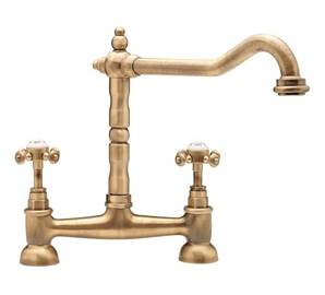 Tre Mercati French Classic Antique Brass Bridge Sink Mixer Tap 187