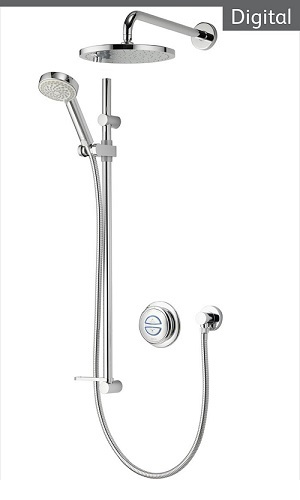 Aqualisa Quartz QZD.A1.BV.DVFW.14 Digital Concealed HP/Combi Shower With Adj Head Fixed Wall Kit