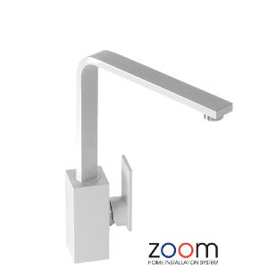 Abode Zoom New Media Single Lever Gloss White Mono Kitchen Sink Tap ZP1066