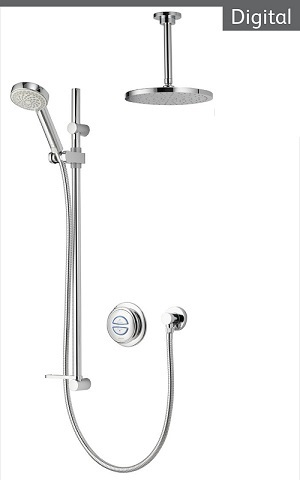 Aqualisa Quartz QZD.A1.BV.DVFC.14 Digital Concealed HP/Combi Shower With Adj And Fixed Ceiling Heads