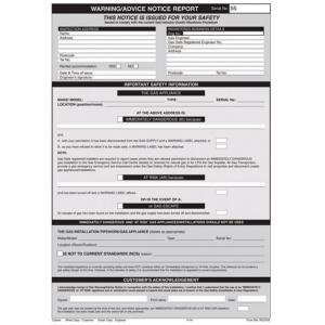 Regin REGP55 Warning Advice Notice Report Pad