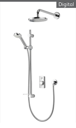 Aqualisa Visage VSD.A1.BV.DVFW.14 Digital HP/Combi Concealed Shower With Adj And Wall Fixed Heads