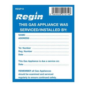 Regin REGP10  Gas Appliance Serviced Sticker Pack Of 8