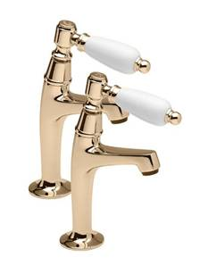 Tre Mercati Series 900 Lever Pair Of High Neck Pillar Taps -