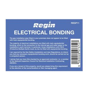 Regin REGP11 Electrical Bonding Sticker Pack Of 8